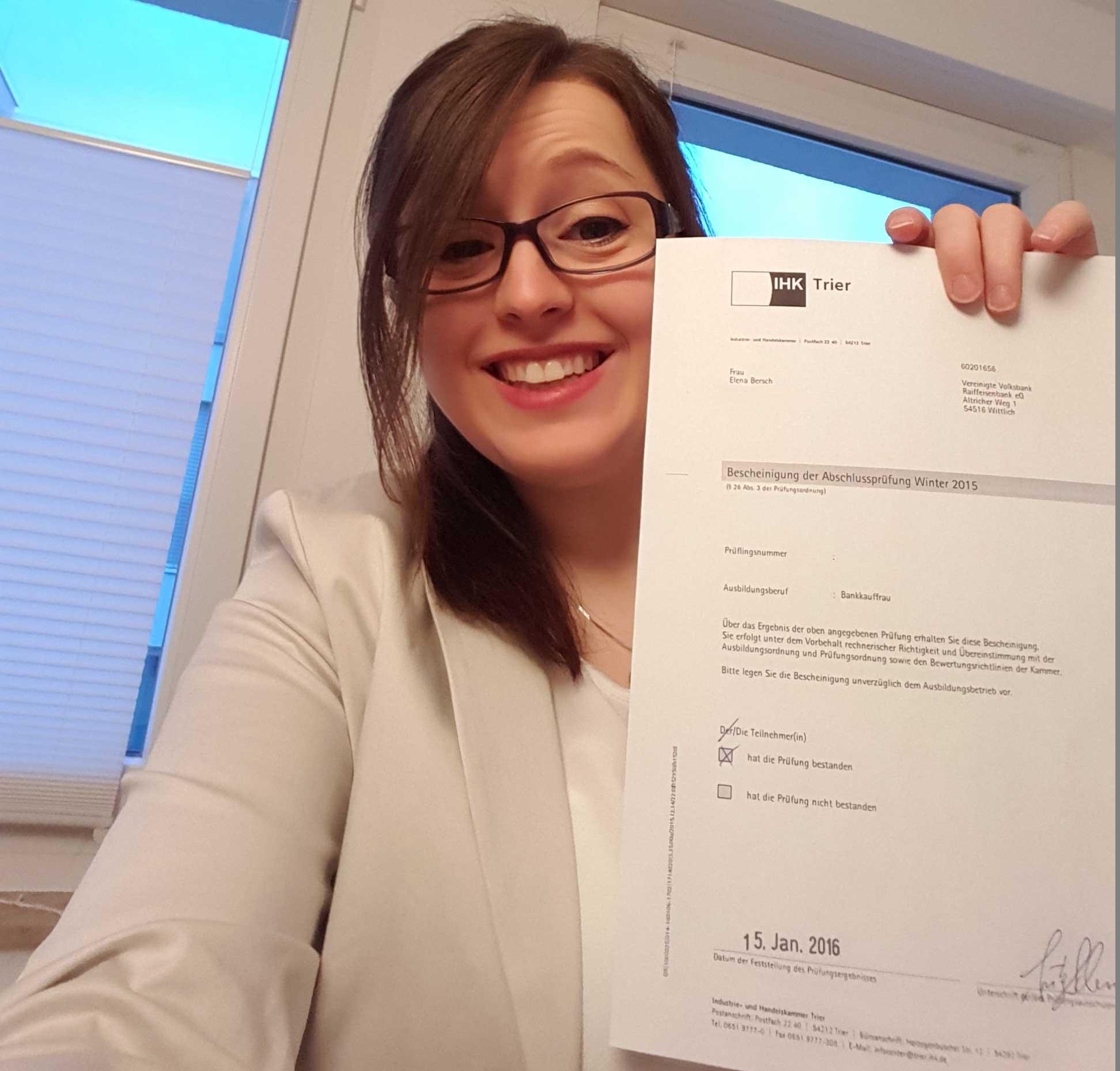 Abschlussprüfung bestanden! Endlich Bankkauffrau!